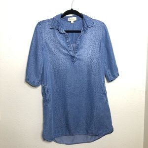 Cloth & Stone Blue Chambray Pop Over Cheetah Print